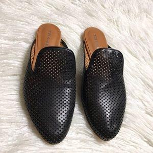 Trask Black Leather Pamela Perf Mules